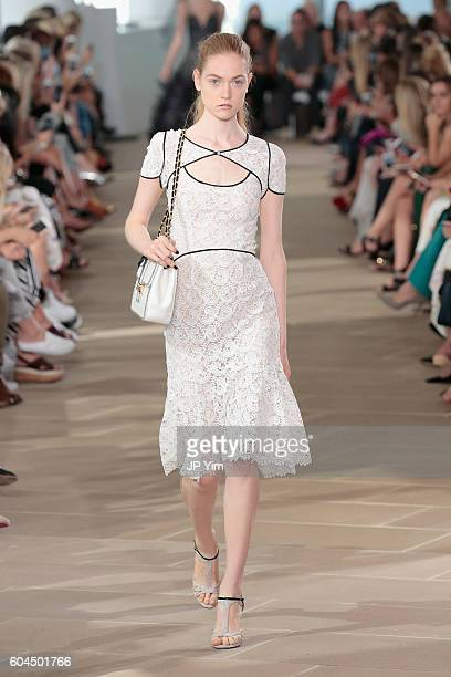 A model walks the runway for the Monique Lhuillier fashion show during New York Fashion Week September 2016 at The IAC Building on September 13 2016...