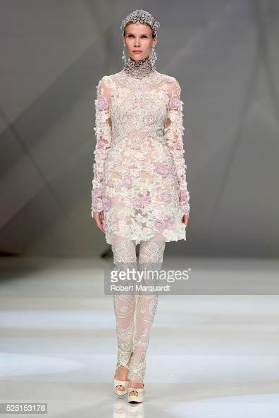 A model walks the runway for the Naeem Khan bridal collection show during Barcelona Bridal Week 2016 on April 27 2016 in Barcelona Spain