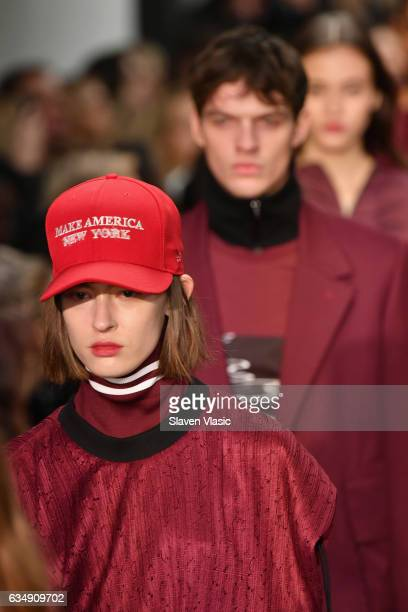 A model walks the runway for the Public School collection during New York Fashion Week The Shows at Milk Gallery on February 12 2017 in New York City...