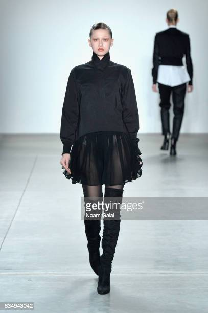 A model walks the runway for the Verdad fashion show during New York Fashion Week at Pier 59 on February 12 2017 in New York City