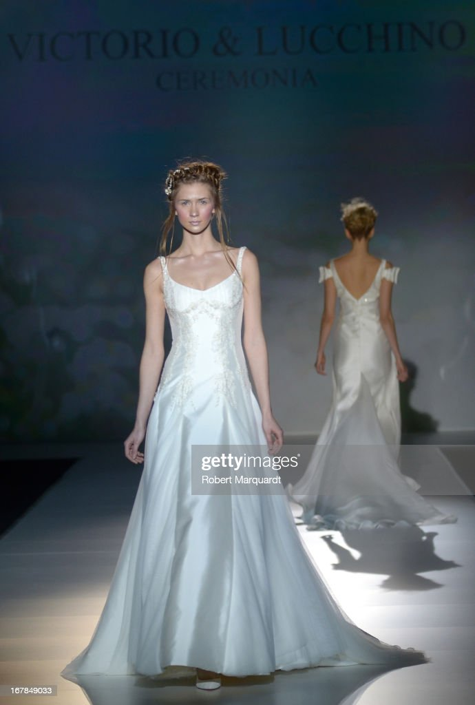 A model walks the runway for the Victorio and Lucchino bridal collection at Barcelona Bridal Week 2013 on April 30, 2013 in Barcelona, Spain.