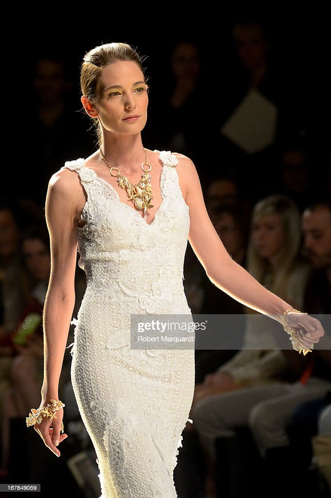 A model walks the runway for the Yolan Cris bridal collection at Barcelona Bridal Week 2013 on April 30, 2013 in Barcelona, Spain.
