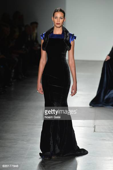 A model walks the runway for the Zang Toi collection during New York Fashion Week The Shows at Pier 59 on February 13 2017 in New York City