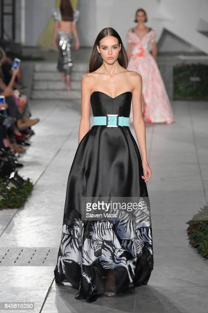 A model walks the runway for TRESemme Carolina Herrera fashion show during New York Fashion Week at The Museum of Modern Art on September 11 2017 in...
