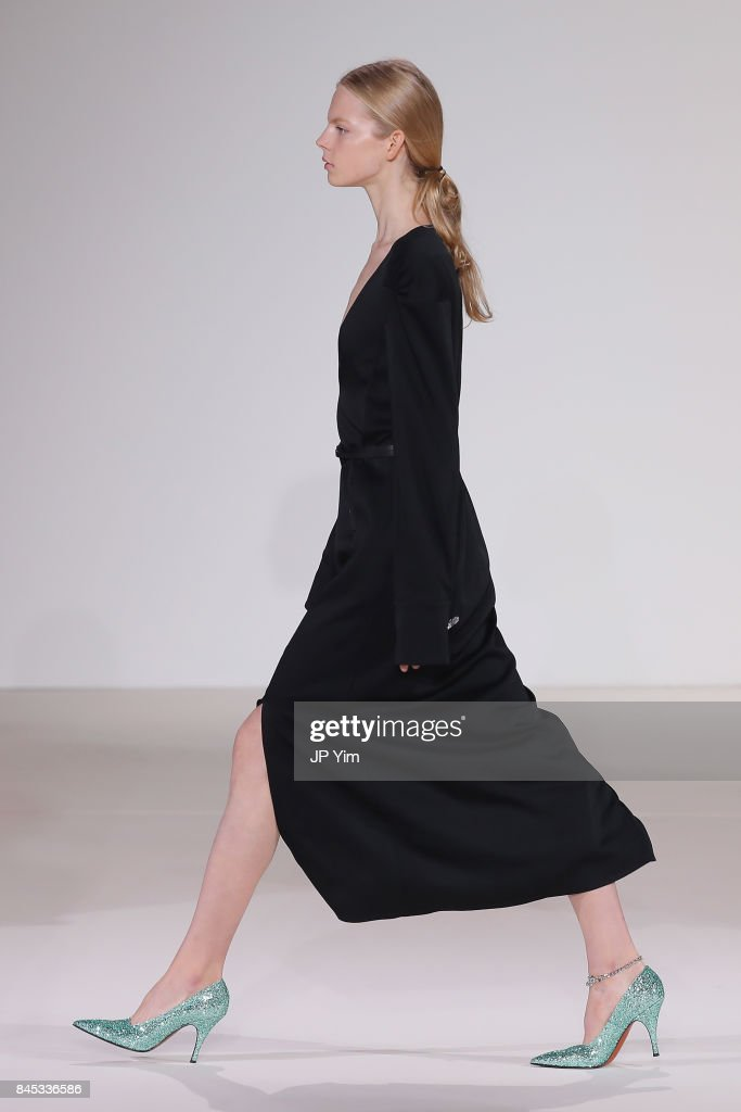 A model walks the runway for Victoria Beckham fashion show during New York Fashion Week: The Shows on September 10, 2017 in New York City.
