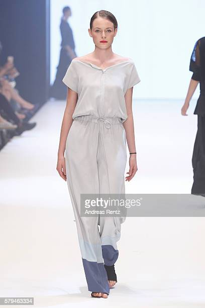 A model walks the runway for Xenia Design as part of the Gallery show during Platform Fashion July 2016 at Areal Boehler on July 24 2016 in...