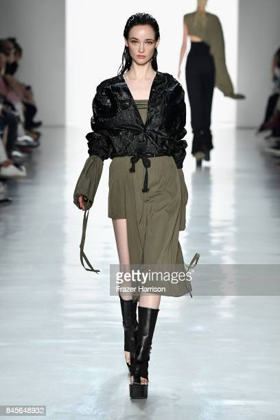 A model walks the runway for Yajun fashion show during New York Fashion Week The Shows at Gallery 3 Skylight Clarkson Sq on September 11 2017 in New...
