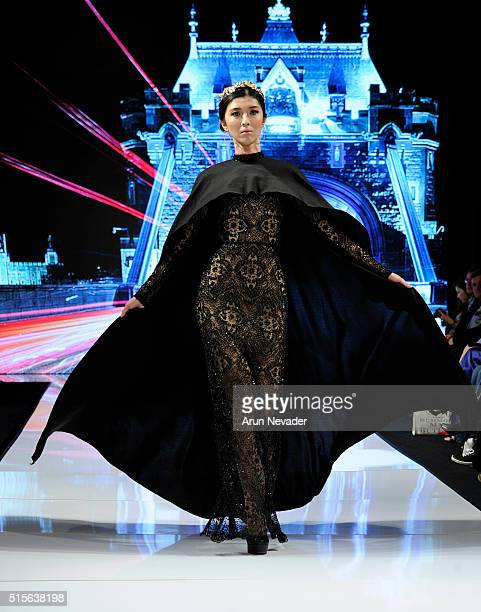 A model walks the runway for Yas Couture by Elie Madi at the Art Hearts Fashion LAFW Fall/Winter 2016 Day 2 at the Taglyan Cultural Complex on March...