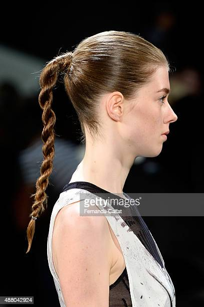 A model walks the runway hair detail wearing Public School Spring 2016 during New York Fashion Week The Shows at The Arc Skylight at Moynihan Station...