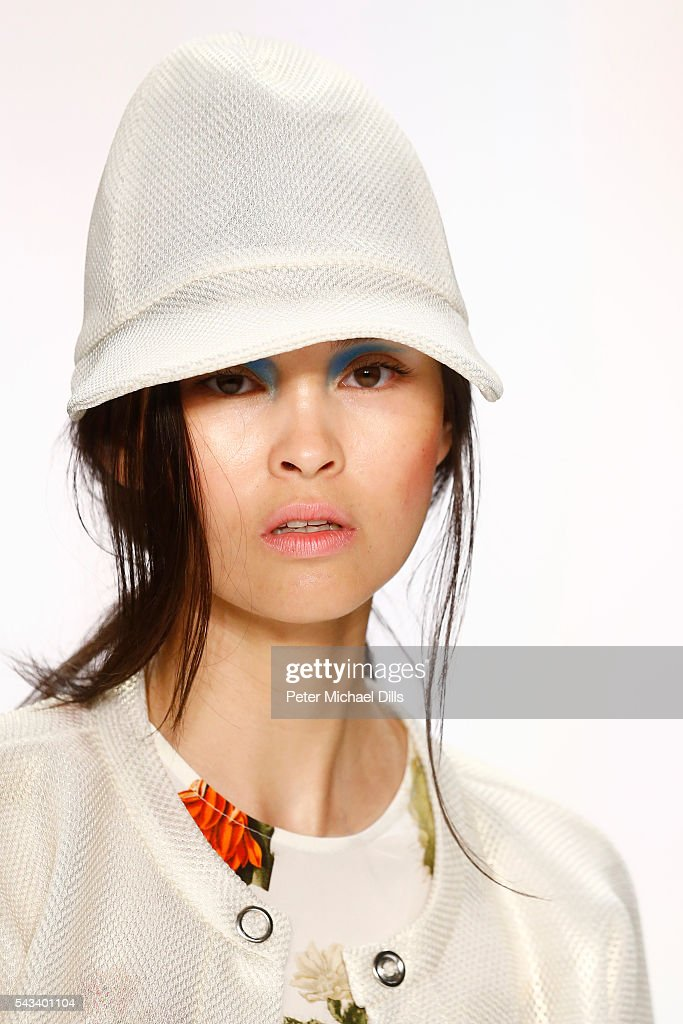 A model walks the runway, hat detail, at the Steinrohner show during the Mercedes-Benz Fashion Week Berlin Spring/Summer 2017 at Erika Hess Eisstadion on June 28, 2016 in Berlin, Germany.