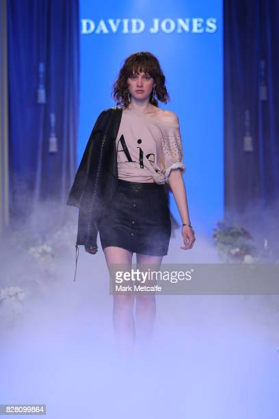 A model walks the runway in a design by Aje during the David Jones Spring Summer 2017 Collections Launch at David Jones Elizabeth Street Store on...