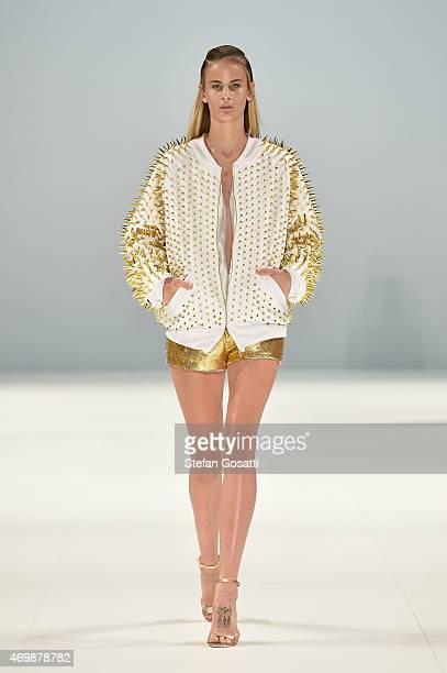 A model walks the runway in a design by ANY STEP at the Raffles International Showcase show at MercedesBenz Fashion Week Australia 2015 at...