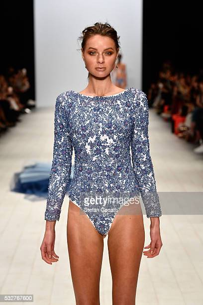 A model walks the runway in a design by Aqua Blu at the Swim show at MercedesBenz Fashion Week Resort 17 Collections at Carriageworks on May 19 2016...