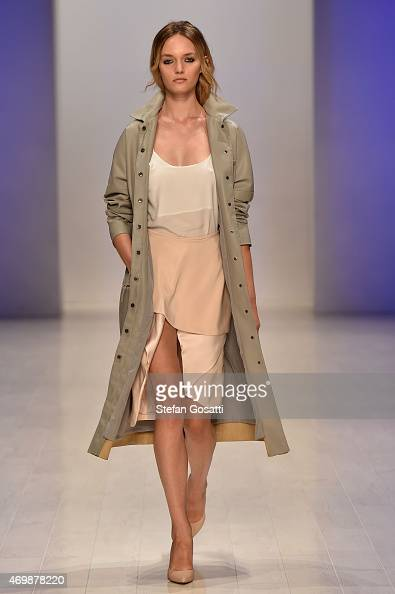 A model walks the runway in a design by Black by Weng at the 3 Up show at MercedesBenz Fashion Week Australia 2015 at Carriageworks on April 16 2015...