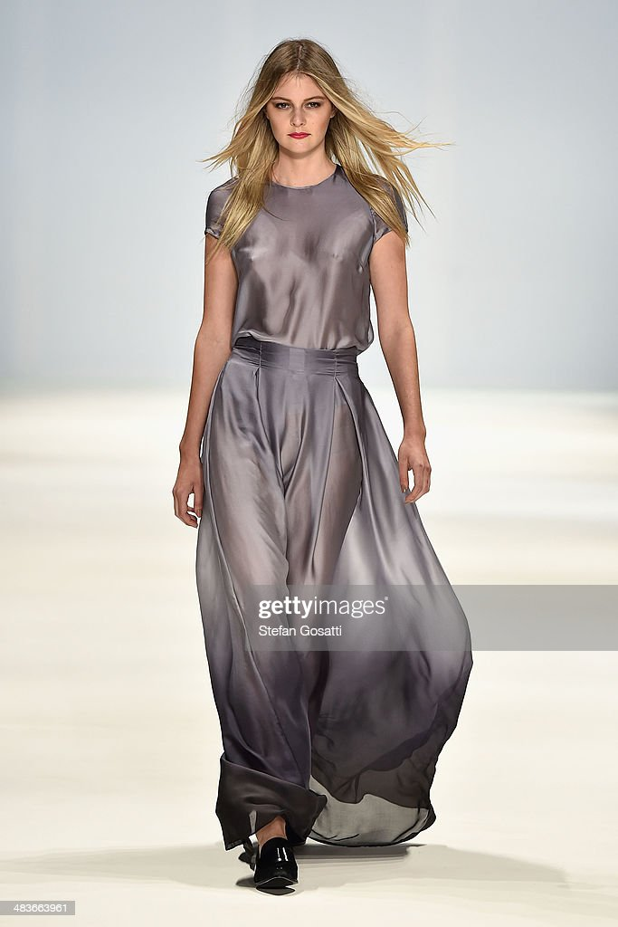 A model walks the runway in a design by Caslazur at the New Generation show during Mercedes-Benz Fashion Week Australia 2014 at Carriageworks on April 10, 2014 in Sydney, Australia.