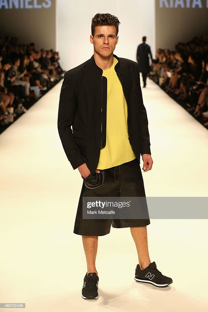 A model walks the runway in a design by Kiaya Daniels at The Innovators show during Mercedes-Benz Fashion Week Australia 2014 at Carriageworks on April 10, 2014 in Sydney, Australia.