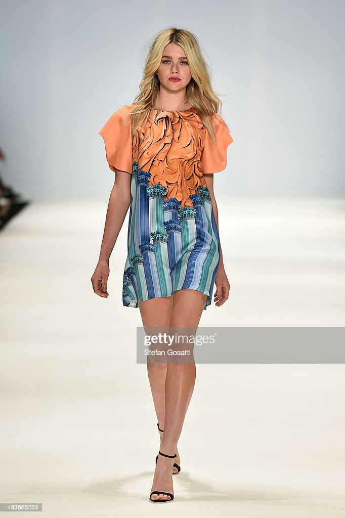 A model walks the runway in a design by RACHELALEX at the New Generation show during Mercedes-Benz Fashion Week Australia 2014 at Carriageworks on April 10, 2014 in Sydney, Australia.