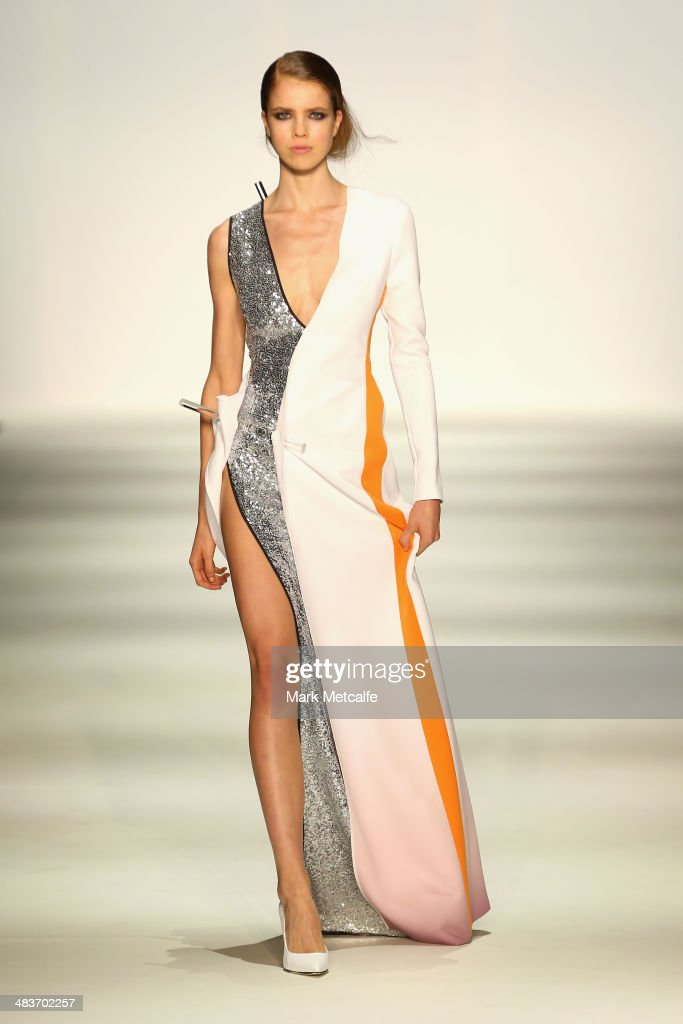 A model walks the runway in a design by Yousef Akbar at The Innovators show during Mercedes-Benz Fashion Week Australia 2014 at Carriageworks on April 10, 2014 in Sydney, Australia.