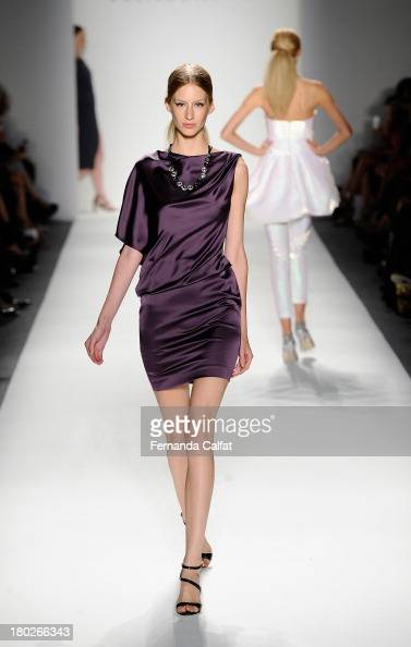 A model walks the runway in an Ellassay design at the Fashion Shenzhen fashion show during MercedesBenz Fashion Week Spring 2014 at The Studio at...