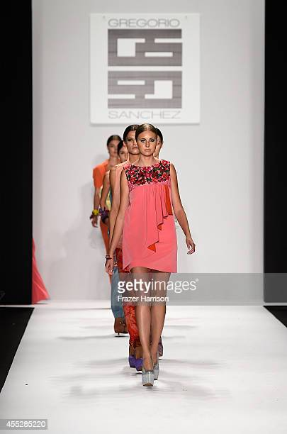A model walks the runway in designs by Gregorio Sanchez at the Art Hearts fashion show presented by AIDS Healthcare Foundation during MercedesBenz...