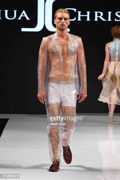 A model walks the runway in Joshua Christensen at the Art Hearts Fashion LAFW Fall/Winter 2016 Day 3 at the Taglyan Cultural Complex on March 15 2016...