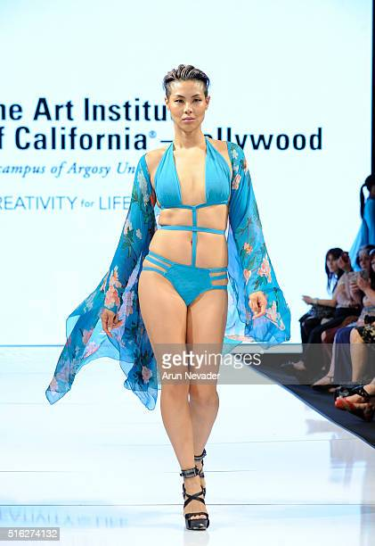 A model walks the runway in Milan Stokes at the Art Hearts Fashion LAFW Fall/Winter 2016 Day 5 at the Taglyan Cultural Complex on March 17 2016 in...