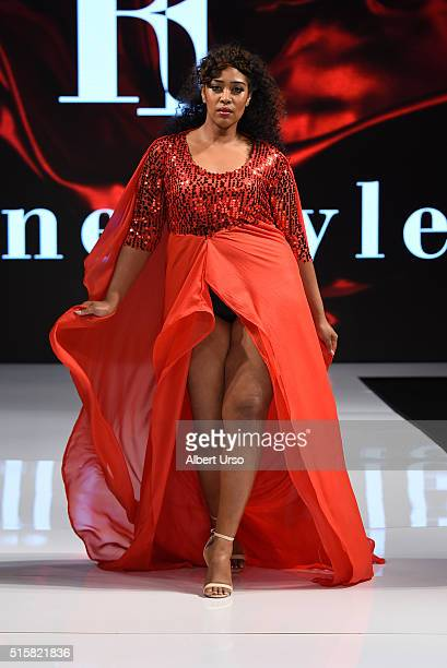 A model walks the runway in Rene' Tyler at the Art Hearts Fashion LAFW Fall/Winter 2016 Day 3 at the Taglyan Cultural Complex on March 15 2016 in...