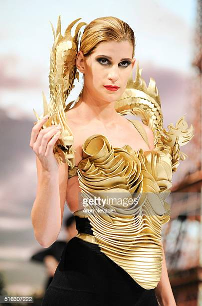 A model walks the runway in Rocky Gathercole at the Art Hearts Fashion LAFW Fall/Winter 2016 Day 5 at the Taglyan Cultural Complex on March 17 2016...
