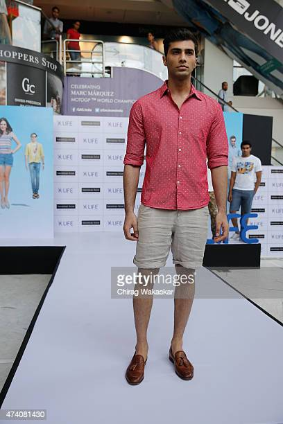 A model walks the runway in Shoppers Stop's Life collection fashion show held at Shoppers Stop on May 20 2015 in Mumbai India