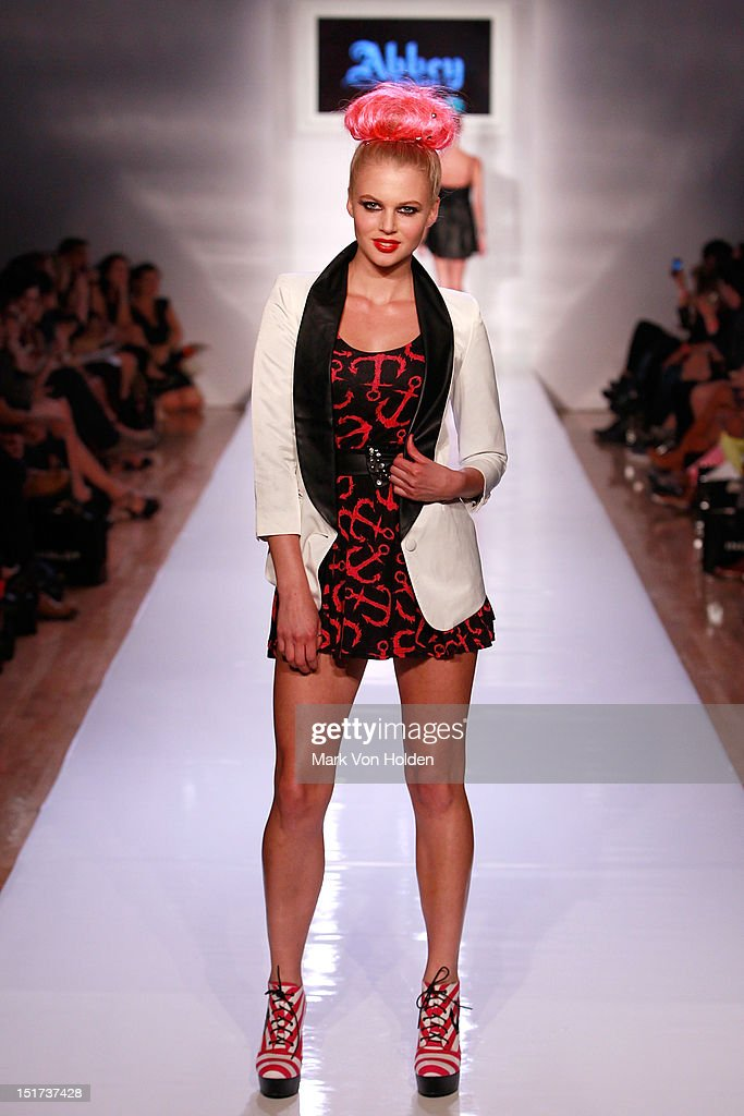 A model walks the runway in the Abbey Dawn By Avril Lavigne Spring 2013 fashion show at Metropolitan Pavilion on September 10, 2012 in New York City.