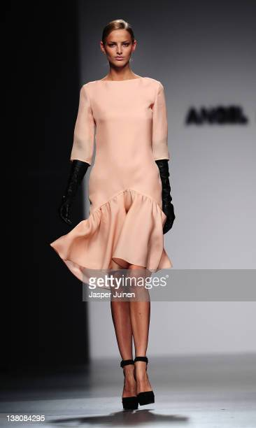 A model walks the runway in the Angel Schlesser fashion show during the MercedesBenz Fashion Week Madrid Autumn/Winter 2012 at Ifema on February 2...