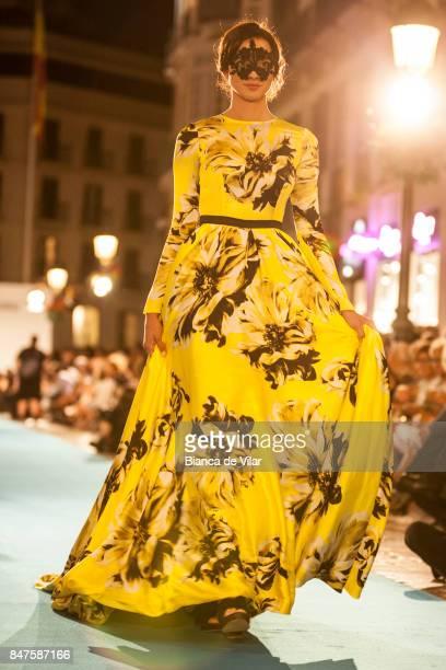 A model walks the runway in the Carla Ruiz fashion show during the VII Larios Malaga Fashion Week on September 15 2017 in Malaga Spain