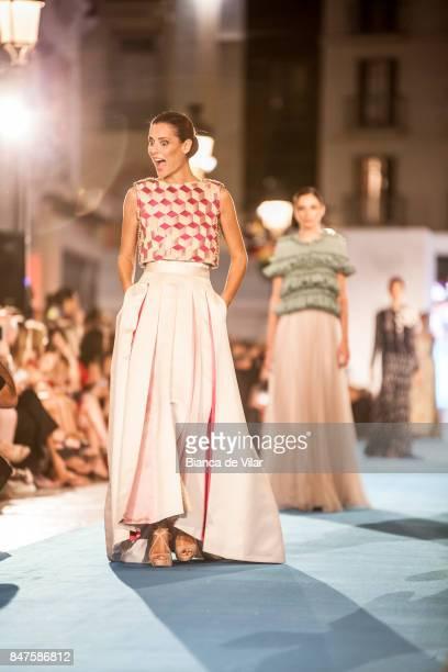 A model walks the runway in the Jesús Segado fashion show during the VII Larios Malaga Fashion Week on September 15 2017 in Malaga Spain