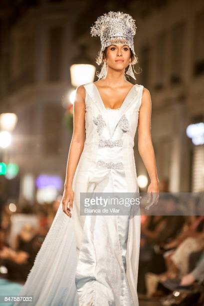 A model walks the runway in the Perlas Y Bombones fashion show during the VII Larios Malaga Fashion Week on September 15 2017 in Malaga Spain