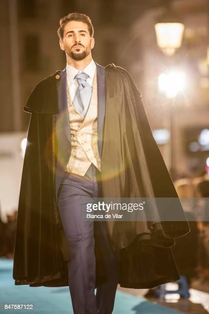 A model walks the runway in the Protocolo fashion show during the VII Larios Malaga Fashion Week on September 15 2017 in Malaga Spain
