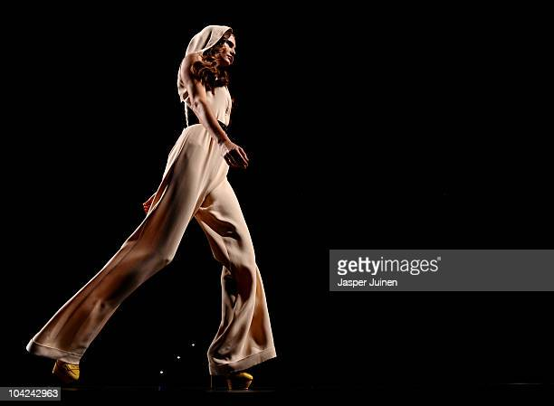 A model walks the runway in the Teresa Helbig fashion show during the Cibeles Madrid Fashion Week Spring/Summer 2011 at the Ifema on September 18...