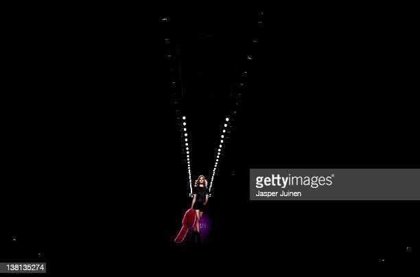 A model walks the runway in the Teresa Helbig fashion show during the MercedesBenz Fashion Week Madrid Autumn/Winter 2012 at Ifema on February 3 2012...