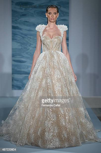A model walks the runway Mark Zunino For Kleinfeld Runway Show during Fall 2015 Bridal Collection at Kleinfeld on October 14 2014 in New York City