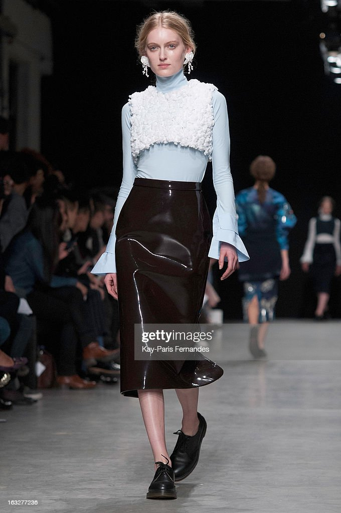 A model walks the runway Mashama Fall/Winter 2013 Ready-to-Wear show as part of Paris Fashion Week on March 6, 2013 in Paris, France.