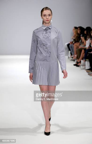 A model walks the runway of designer Anna K at the Kiev Showcase show during London Fashion Week Spring Summer 2015 at Fashion Scout Venue on...