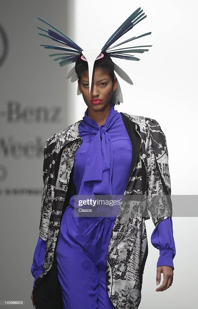 A model walks the runway of designer Arturo Ramos Miranda during the Mercedes-Benz Fashion Week Mexico Autumn/Winter 2012 at Hipódromo de las Americas on March 28, 2012 in Mexico City, Mexico.