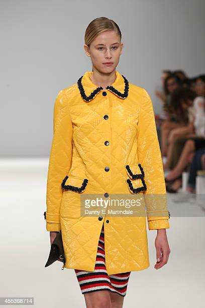 A model walks the runway of designer Zherebtsov at the Kiev Showcase show during London Fashion Week Spring Summer 2015 at Fashion Scout Venue on...