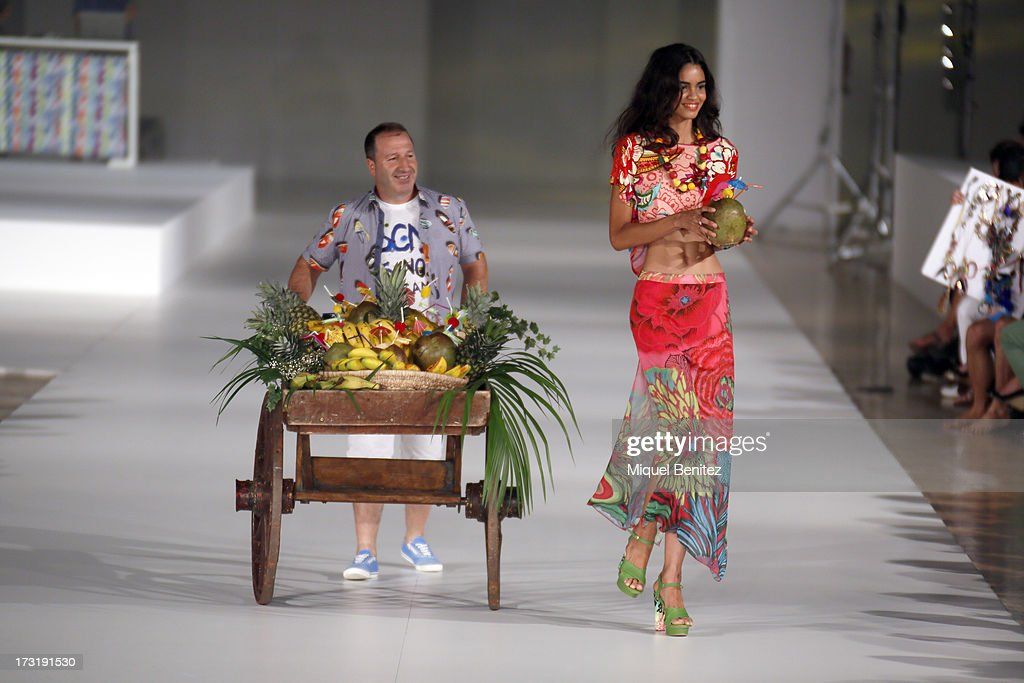 A model walks the runway of 'For Everyboby Sex Fun and Love by Desigual's' new collection during the 080 Barcelona Fashion Spring Summer 2014 on July 9, 2013 in Barcelona, Spain.