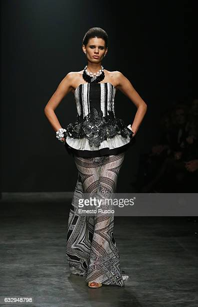 A model walks the runway of the 'Camillo Bona' fashion show during AltaRoma January 2017 on January 28 2017 in Rome Italy