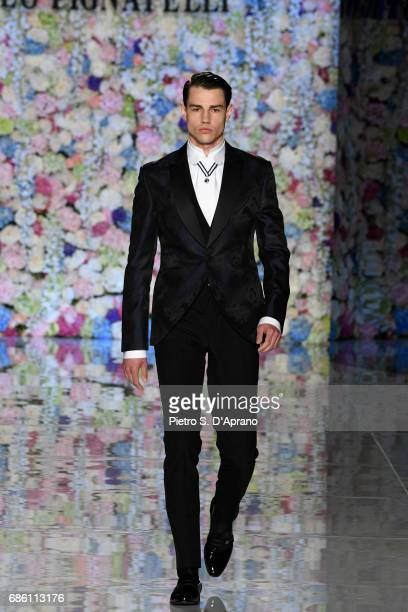 A model walks the runway of the Carlo Pignatelli Haute Couture fashion show on May 20 2017 in Milan Italy