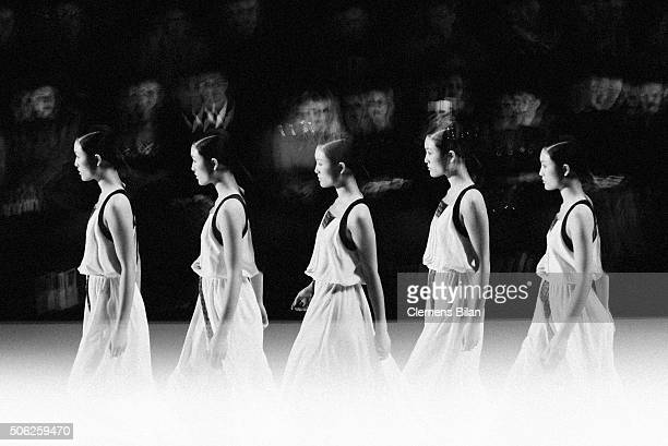 A Model walks the runway of the Fashion Designs by Shih Chien University Show during the MercedesBenz Fashion Week Berlin Autumn/Winter 2016 at...