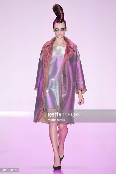 A model walks the runway of the Tegin show on day 1 of MercedesBenz Fashion Week Moscow AW14 on March 27 2014 in Moscow Russia