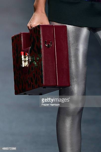 A model walks the runway purse detail wearing The Art Institutes Spring 2016 during New York Fashion Week The Shows at The Dock Skylight at Moynihan...
