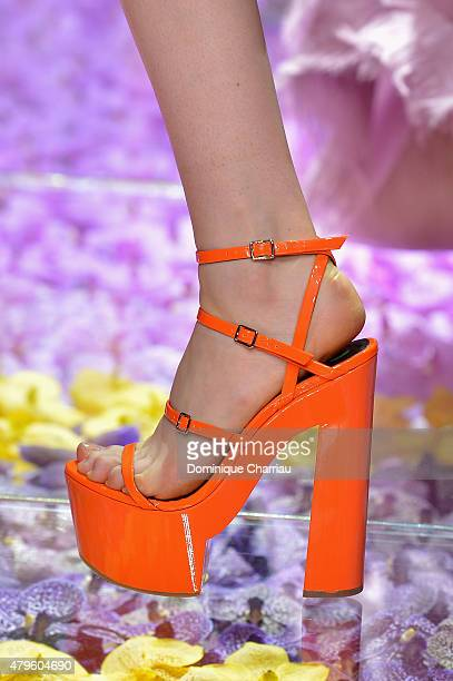 A model walks the runway shoe detail during the Versace show as part of Paris Fashion Week Haute Couture Fall/Winter 2015/2016 on July 5 2015 in...