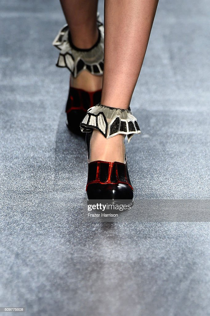 A model walks the runway, shoe detail, wearing Concept Korea Fall 2016 during New York Fashion Week: The Shows at The Dock, Skylight at Moynihan Station on February 12, 2016 in New York City.